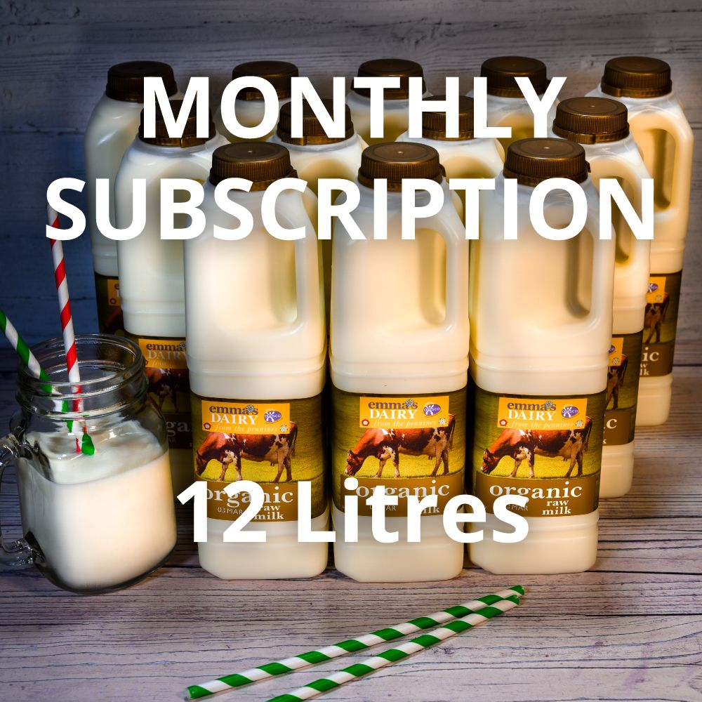 12 Litre Raw Organic Milk Subscription Monthly