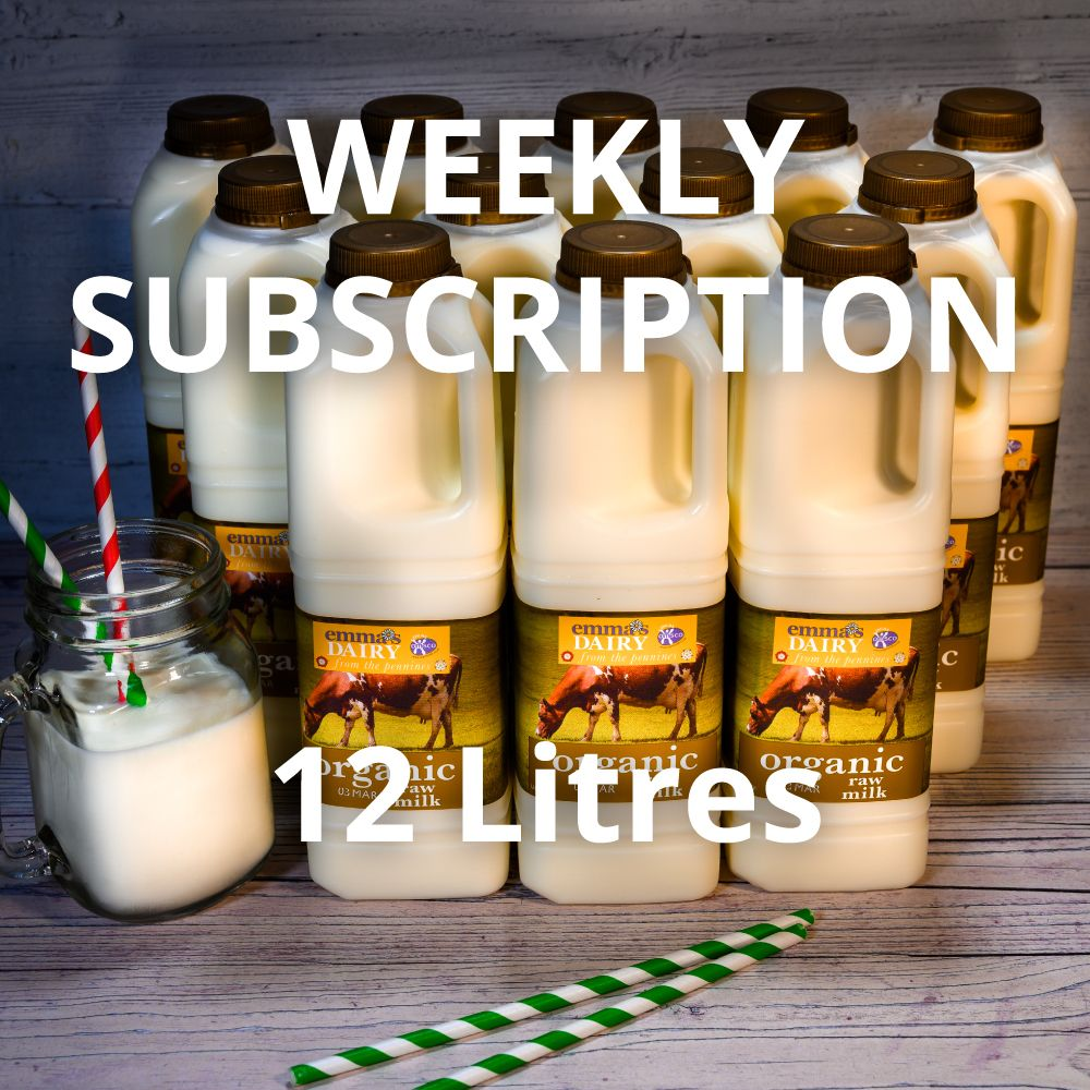 12 litre Raw Organic Milk Subscription Weekly